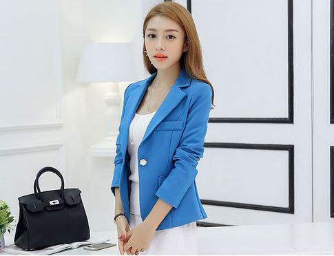 เสื้อสูทผู้หญิง แขนยาว สีน้ำเงิน สว่าง เสื้อสูท ใส่ทำงาน แบบสวย มีดีไซน์ เสื้อคลุมผู้หญิง แบบสูท ใส่ในออฟฟิต มีกระเป๋า สวยหรู 877711