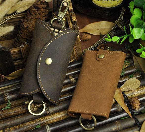กระเป๋าใส่พวงกุญแจ กระเป๋าแขวนกุญแจ สไตล์วินเทจ สำหรับ ผู้ชาย เท่ ๆ กระเป๋าหนังแท้ ใส่กุญแจ รถยนต์ กุญแจบ้าน ใส่ได้หลายพวง 924055