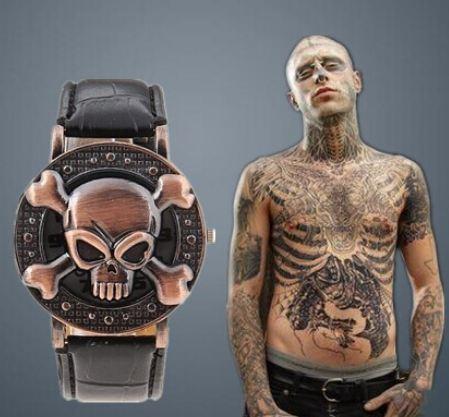 นาฬิกาข้อมือ แบบ ร็อค ๆ กระโหลก ไขว้ นาฬิกาข้อมือผู้ชาย ผู้หญิง แบบเท่ ๆ สายหนัง สีดำ 43927