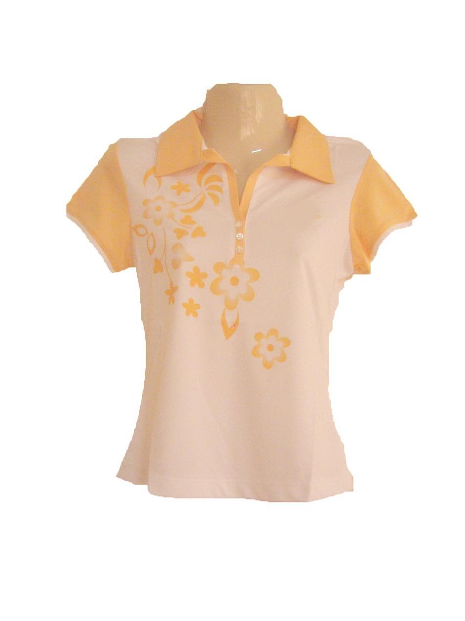 เสื้อเชิ้ตผู้หญิง เสื้อคอปก เสื้อใส่วิ่ง ใส่ออกกำลังกาย เพ้นท์ ลายดอกไม้ สีเหลือง Size M เสื้อใส่เข้าฟิตเนส แบบสวย ลดราคา sa143