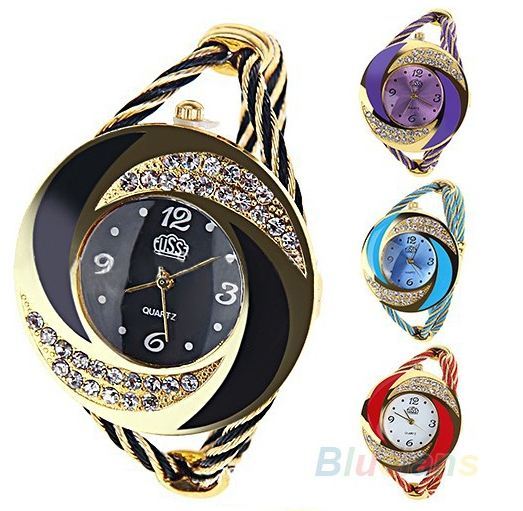 นาฬิกาข้อมือ ผู้หญิง แบบ กำไลข้อมือ ประดับ คริสตัล สีใส เพชร รอบหน้าปัด นาฬิกาข้อมือแฟชั่น กำไล สีน้ำเงิน ดำ ชมพู ม่วง แดง 94267