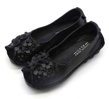 รองเท้าหุ้มส้น ผู้หญิง รองเท้าหนังแท้ รองเท้าผ้าใบหนัง แท้ สีดำ ดีไซน์ ลายดอกไม้ พุ่ม ดอกไม้ เก๋ ๆ ด้านหน้า รองเท้าหนังนิ่ม ใส่ได้ทุกโอกาศ 727672