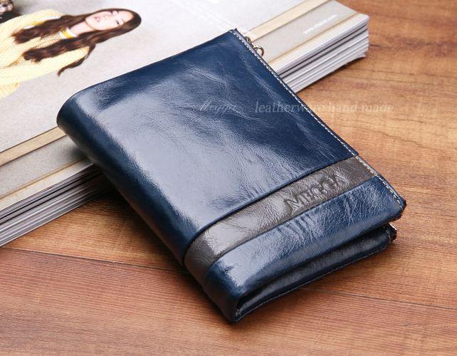 กระเป๋าสตางค์ผู้หญิง ใบสั้น กระเป๋าสตางค์ หนังวัวแท้ ลง Oil wax รุ่นซิปคู่ ใส่บัตร ใส่เงิน ใส่เหรียญ ได้จุใจ กระเป๋าสตางค์หนังแท้ สีน้ำเงิน 548786