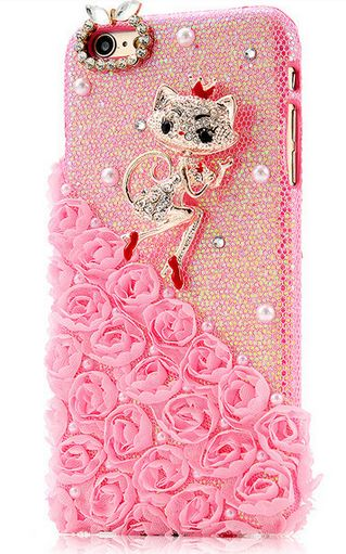 เคส iphone 6 Plus ขนาด 5.5 นิ้ว ติดคริสตัล แมว แสนสวย ดอกกุหลาบ สีชมพู แสนหวาน เคส Diy 3 มิติ สำหรับ คนรักแมว พลาดไม่ได้นะคะ 90585
