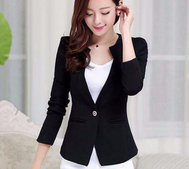 เสื้อสูท เสื้อแจ็คเก็ต เสื้อคลุม แบบสูท สูทผู้หญิง แขนยาว สีดำ เสื้อสูท แบบพอดีตัว ดีไซน์ จับจีบ ที่ปก กระดุม 1 เม็ด มีกระเป๋า 708280