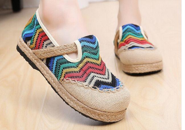 รองเท้าหุ้มส้น แบบวัยรุ่น รองเท้าแฟชั่น ผู้หญิง สไตล์วินเทจ ลายซิ๊กแซ็ก โทนสีฟ้า สลับ น้ำเงิน รองเท้าใส่เที่ยว น่ารัก สไตล์วัยรุ่น 76133_1