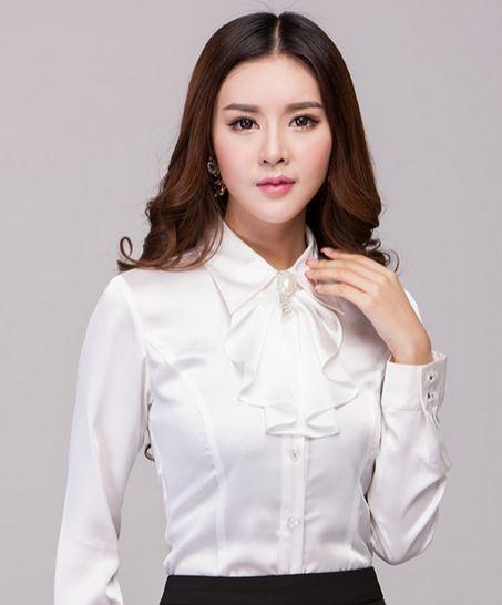 เสื้อเชิ้ตใส่ทำงาน เสื้อเชิ้ตผู้หญิง แขนยาว สีขาว คอปก มีระบาย พู่ เพิ่มมิติ ให้ดูโดดเด่น เสื้อใส่ทำงาน แขนยาว สำหรับ สาวออฟฟิต เรียบร้อย 500772_1