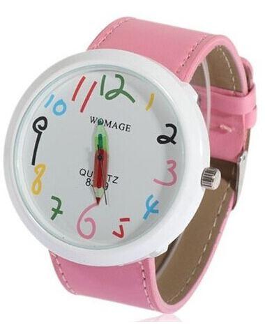 นาฬิกาข้อมือ ผู้หญิง ผู้ชาย ใส่ได้ สายหนัง ลายกราฟฟิค Paint รูปดินสอ ลายการ์ตูน ตัวเลขน่ารัก สีชมพู ของขวัญให้แฟนสุดเก๋ no 824387_4