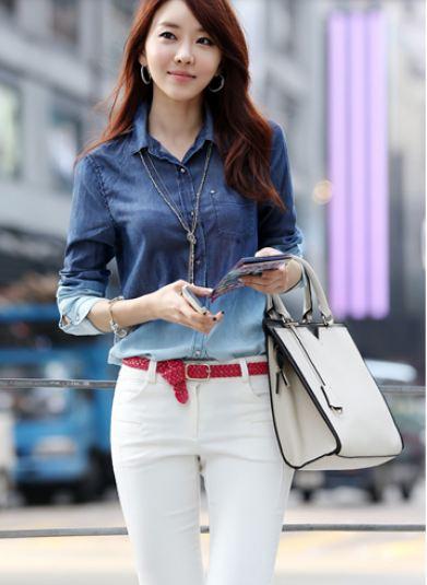 เสื้อยีนส์ เสื้อเชิ้ตผู้หญิง แขนยาว เล่นโทนสี 2 สี ไล่เฉด สวยมากค่ะ เสื้อเชิ้ต ใส่เที่ยว ใส่ทำงาน แบบเก๋ ๆ ดูดี มีสไตล์ 41721