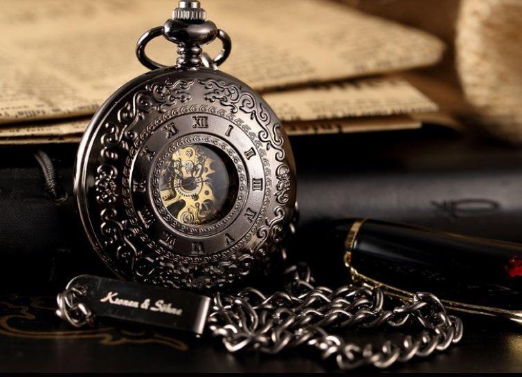 นาฬิกาล็อคเก็ต แบบ Mechanical watch นาฬิกาโชว์กลไก Kronen and Sohne KS นาฬิกา สร้อยคอ สุดหรู สัญชาติ เยอรมัน สีดำ เลขโรมัน 713325