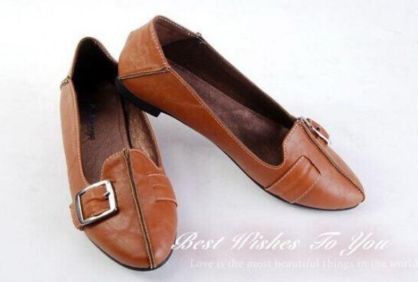 รองเท้าหุ้มส้น ผู้หญิง รองเท้าหนังแท้ ใส่เที่ยว ดีไซน์ สไตล์ รองเท้า บัลเล่ต์ ออกแบบเป็นเข็มขัดด้านหน้า แนวสาวคาวบอย น่ารักสุด ๆ สีน้ำตาล 361423_1
