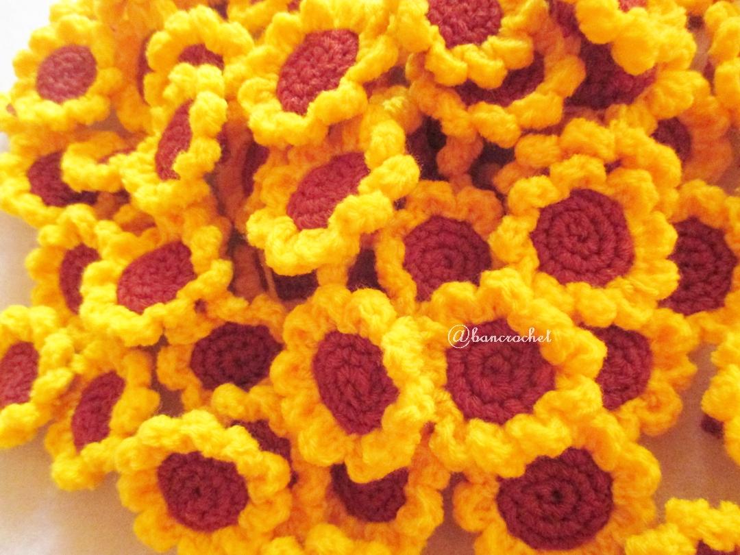 ดอกทานตะวันถักโครเชต์ (เฉพาะดอก) sunflowers crochet