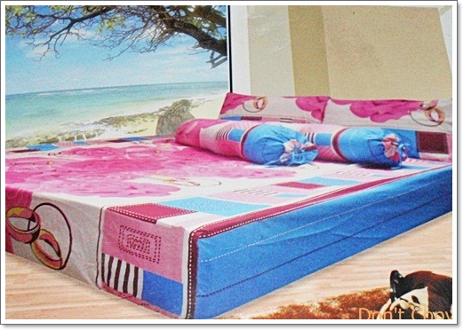 ผ้าปูเตียงครบเซ็ท 6 ฟุตสี ฟ้า ชมพู