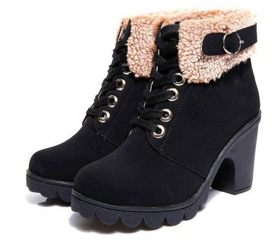 รองเท้าหุ้มส้น ผู้หญิง สไตล์ บูท นิด ๆ เพิ่มส้นรองเท้าเล็กน้อย ตกแต่งขนแกะที่ รอบข้อเท้า แฟชั่นญี่ปุ่น ใส่เช็มขัด เพิ่มความเท่ สีดำ 8606672