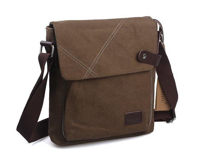 กระเป๋าสะพายข้างผู้ชาย ผ้า canvas ผ้ายีนส์ แนวตั้ง ใส่ ipad ได้ กระเป๋าสะพายผู้ชาย ใส่ของ กระจุก กระจิก สีน้ำตาล สีดำ ดีไซน์ ยีนส์เท่ ๆ 878468