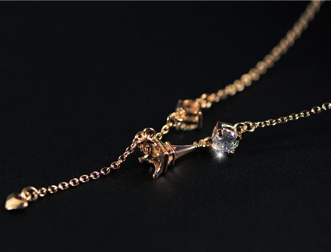 สร้อยคอชุบทองพิงค์โกลด์18Kจี้รูปหอไอเฟลแต่งคริสตัล