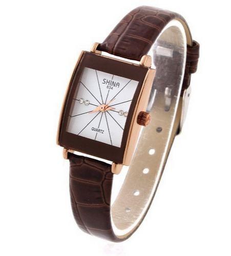นาฬิกาข้อมือ ผู้หญิง สายหนัง ใส่กับชุดทำงาน แบบ เรียบหรู คลาสสิค มี 3 สี สีน้ำตาล สีขาว สีดำ หน้าปัดสี่เหลี่ยม ด้านในฝังเพชร 93320