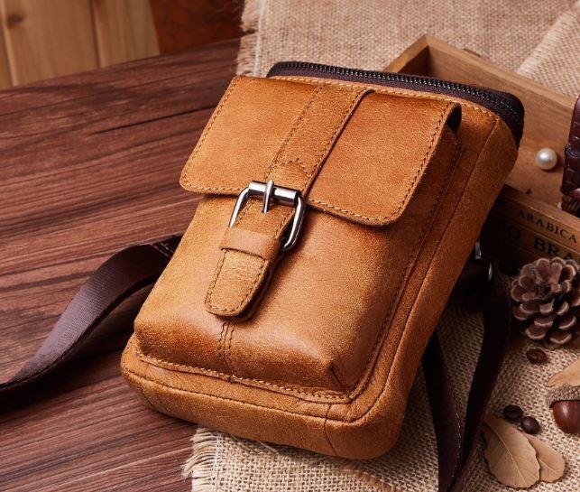 กระเป๋าคาดเอว ผู้ชาย หนังแท้ คุณภาพดี สีน้ำตาล ขนาดกำลังดี กระเป๋าร้อยเข็มขัด สไตล์วินเทจ คลาสสิค 951909