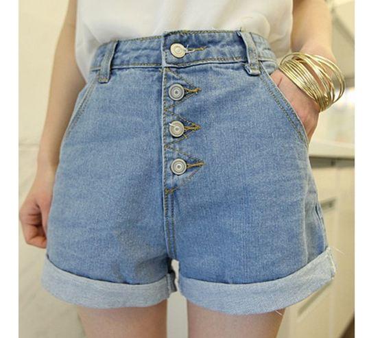 กางเกงขาสั้น กางเกงผู้หญิง ขาสั้น กางเกงยีนส์ ขาสั้น ดีไซน์ วินเทจ คลาสสิค ทรงเอ เอวสูง แบบกระดุม สไตล์ ขาพับ 444571