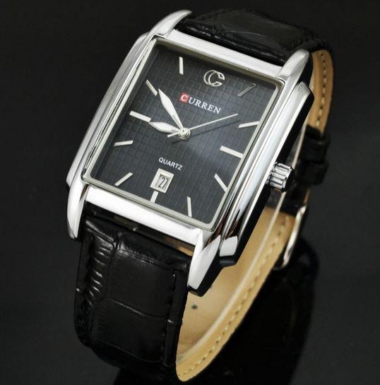 นาฬิกาข้อมือผู้ชาย สายหนัง สีน้ำตาล หน้าปัด สี่เหลี่ยม แบบคลาสสิค มีระบบ วันที่ Auto date นาฬิกาให้แฟน สุดคลาสสิค สีดำ no 202795