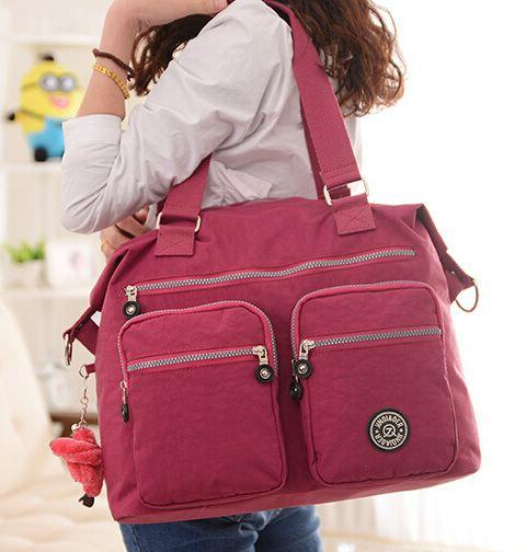 กระเป๋าถือ กระเป๋าสะพาย ผู้หญิง กระเป๋าเดินทาง ใส่เสื้อผ้า กระเป๋าผ้าไนลอนกันน้ำ ทรงสี่เหลี่ยม ใบใหญ่ มีช่องซิปหลายช่อง กระเป๋าวัยรุ่น ท่องเที่ยว เก๋ ๆ 953685