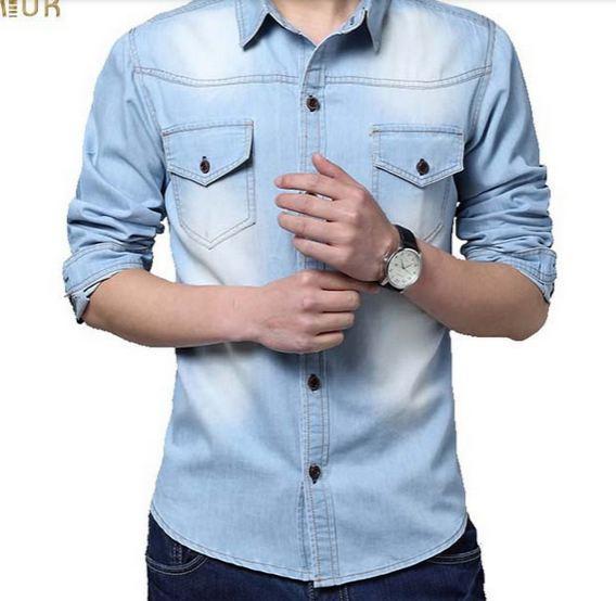 เสื้อเชิ้ตยีนส์ ผู้ชาย เสื้อยีนส์ แขนยาว คอปก สำหรับผู้ชาย เสื้อคอปก ผ้ายีนส์ สีฟ้า อ่อน ใส่เป็น เสื้อนอก ได้ กระดุมหน้า ดีไซน์สวย 644919