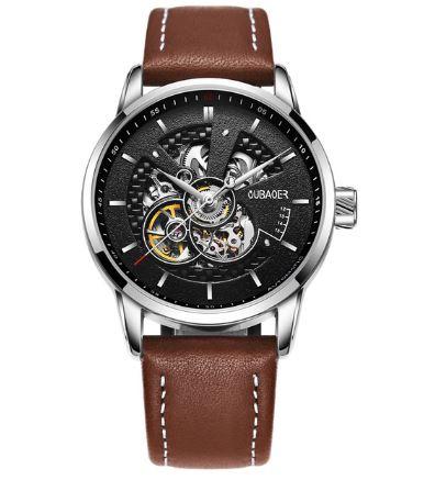 นาฬิกาข้อมือ โชว์กลไก Mechanical watch สายหนัง หน้าปัดด้านใน ดีไซน์ ลายเส้นถัก สาน งานดีไซน์ นาฬิกากลไก สปอร์ตสุดหรู 320432