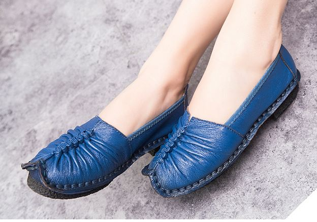 รองเท้าหุ้มส้น รองเท้าหนังแท้ รองเท้าผู้หญิง แฟชั่น ดีไซน์ หนังนิ่ม ใส่สบาย ยืดหยุ่นสูง ออกแบบ จับจีบ หน้าเท้า สีน้ำเงิน เท่ ๆ 474582