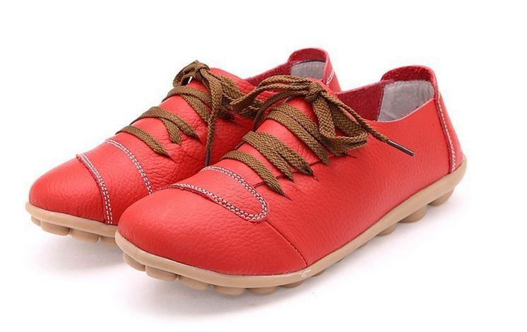 รองเท้าหุ้มส้น รองเท้าหนังแท้ สีแดง รองเท้าผู้หญิง หุ้มส้น สไตล์รองเท้าผ้าใบ แบบเท่ ๆ เชือกผูกสีน้ำตาล รองเท้าเท่ ๆ เรียบหรู มีสไตล์ 333685_1