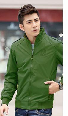 เสื้อ แจ็คเก็ต ผู้ชายแขนยาว เสื้อกันลม ผ้า 2 ชั้น Nylon,Polyester สีเขียวอ่อน สีสว่าง สไตล์เกาหลี เสื้อ Jacket แขนยาว สิงห์นักบิด เท่ ๆ 580383