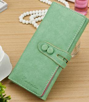 กระเป๋าสตางค์ใบยาว ผู้หญิง กระเป๋าหนัง สีพื้น สีเขียว มีกระดุมปิดหน้ากระเป๋า no 87672_3