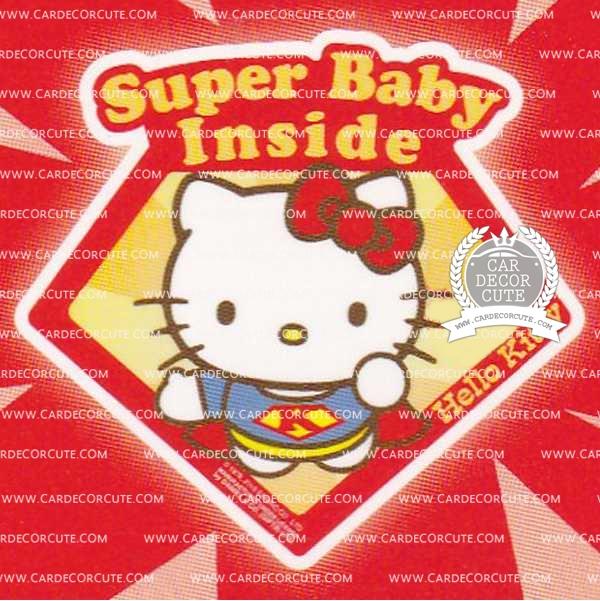 ( ลด 5 % ) HELLO KITTY - สติกเกอร์ป้ายเตือนในรถสุญญากาศ SUPER BABY INSIDE