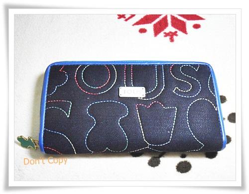 กระเป๋าสตางค์ใบยาว Tous สีน้ำเงินผ้านิ่ม K106