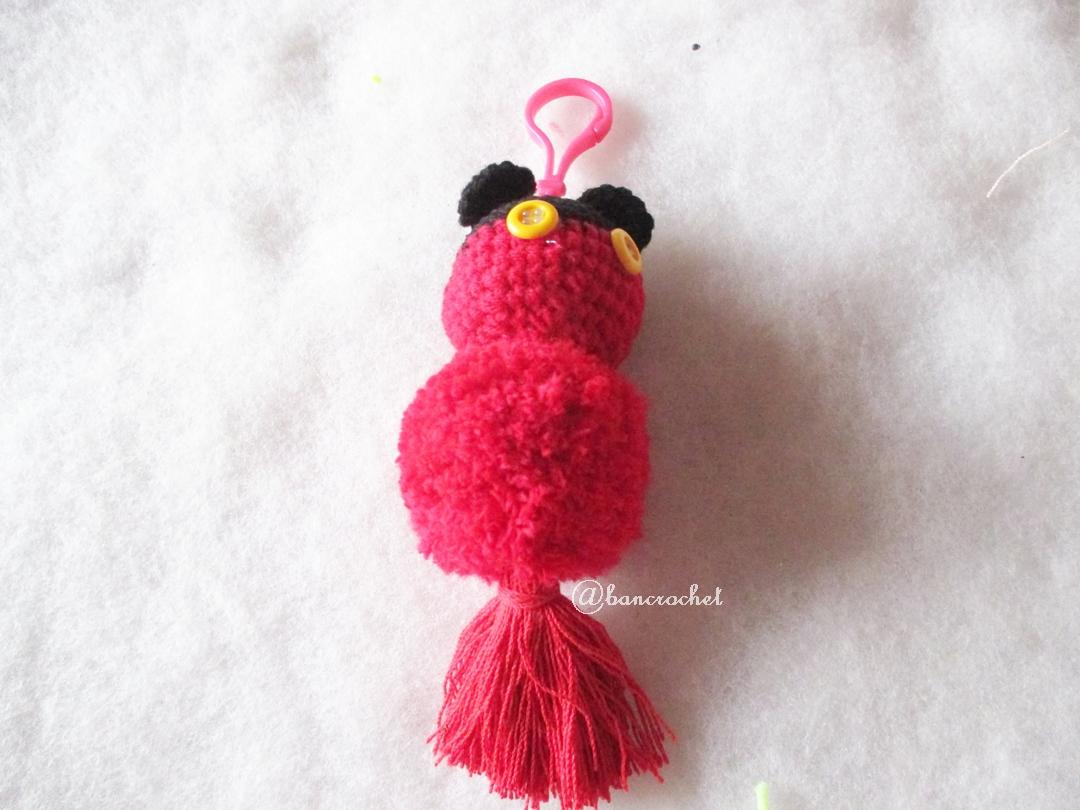 พวงกุญแจปอมปอมมิกกี้เม้าส์ pompoms mickey crochet keychain