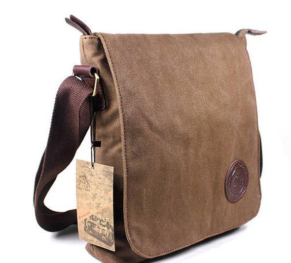 กระเป๋าสะพายข้าง กระเป๋า ผ้าแคนวาส อย่างดี สีน้ำตาล กระเป๋าสะพายข้างผู้ชาย เท่ ๆ แนวเซอร์ ๆ สะพายไปเรียน ไปเที่ยว ใส่ ipad ได้ 459313
