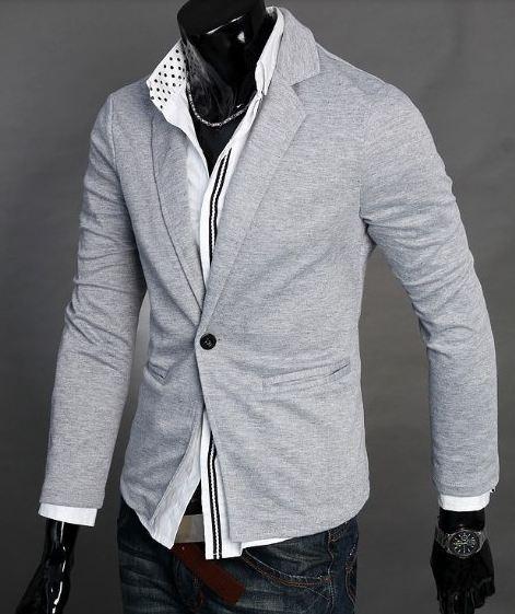 เสื้อคลุมผู้ชายแขนยาว สไตล์ แจ็คเก็ต แบบสูท คอปก ผ้า Cotton Jacket เสื้อคลุมใส่ทำงานใน ออฟฟิต สำหรับผู้ชาย สีเทาอ่อน no 894640_2