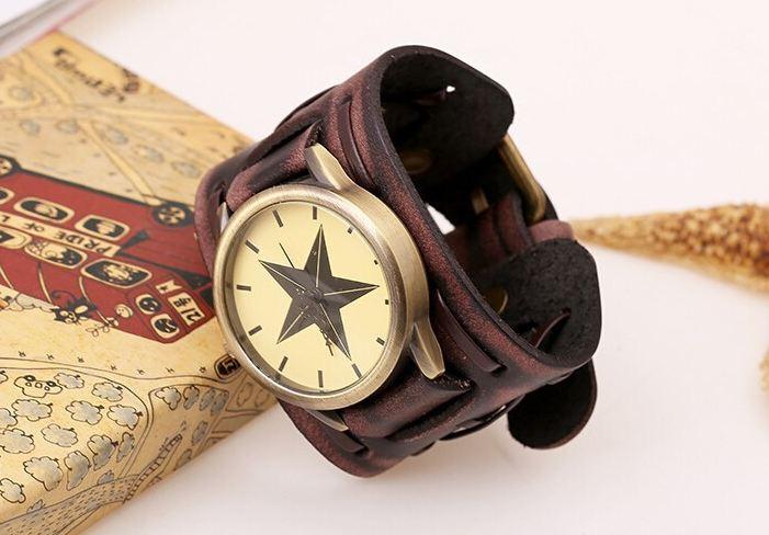 นาฬิกาข้อมือ สายหนังวัวแท้ ผู้หญิง ผู้ชาย ใส่ได้ สไตล์ วินเทจ แบบ ร็อค ๆ พังค์ หนังแท้ สีน้ำตาล เส้นใหญ่ โชว์ลายหนัง หน้าปัด รูปดาว งาน Hand made 739127