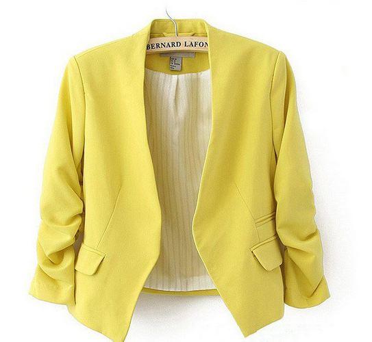 เสื้อสูทผู้หญิง ใส่สมัครงาน ทำงาน ออฟฟิต เสื้อสูท แบบ ตัวสั้น สีเหลือง มะนาว เสื้อคลุม แบบสูท ใส่ออกงาน แบบสุภาพ ใส่ในออฟฟิต ราคาถูก 171361_4