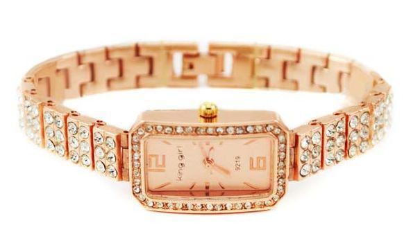 นาฬิกาข้อมือผู้หญิง สี Rose Gold ฝังเพชร ทั้งเส้น ทรงสี่เหลี่ยม เรียบหรู ราคาถูก no 6522618