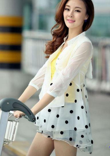 เสื้อคลุม เสื้อ Jacket ผู้หญิง ผ้าซีทรู ตัวยาว สามารถใส่เป็น เดรส ได้เลย สีขาว ลายจุดสีดำ ใส่กับ เสื้อยืด กางเกงขาสั้น แฟชั่น เก๋ ๆ 463462_2