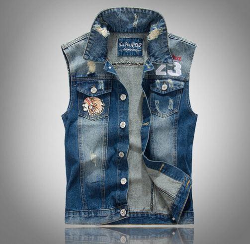 เสื้อแจ็คเก็ตยีนส์ แขนกุด เสื้อ Jacket ผู้ชาย แบบเท่ ๆ สไตล์ หนุ่ม คาวบอย เสื้อกั๊ก ผู้ชาย เท่ ๆ ปักลาย อินเดียแดง ที่อก สวย เท่ 329389