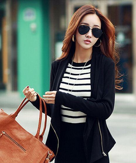เสื้อ Jacket เสื้อคลุมผู้หญิง แขนยาว สีดำล้วน ปรับเปลี่ยน ดีไซน์ได้ ด้านหน้าเป็น ซิป สามารถ เปลี่ยนแบบ เป็น เสื้อยืด ได้ เก๋ ๆ ค่ะ 397005_2
