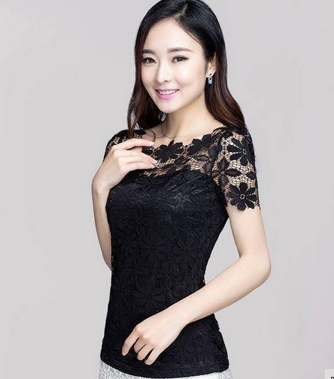 เสื้อผ้าลูกไม้ สีดำ เสื้อลูกไม้ แขนสั้น ดีไซน์ ลูกไม้ เป็น ดอกไม้ ด้านบน เสื้อใส่ไว้ทุกข์ สีดำ เสื้อแบบผู้ใหญ่ ใส่ทำงาน ออกงาน เรียบหรู 867989_3