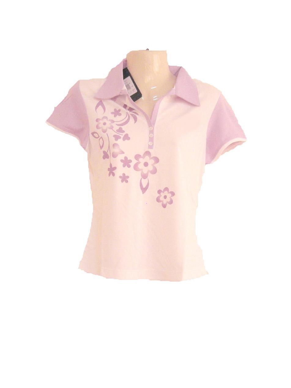 เสื้อเชิ้ตผู้หญิง เสื้อคอปก เสื้อใส่วิ่ง ใส่ออกกำลังกาย สีขาว เพ้นท์ ลายดอกไม้ Size M สีม่วงอ่อน ผ้าลื่น ระบายเหงื่อได้ดี สินค้าลดราคา sa141