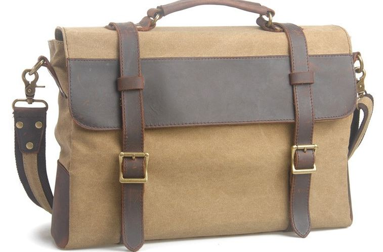 กระเป๋าสะพายข้าง ผู้ชาย หนังแท้ ผ้ายีนส์ แบบสวย ไฮโซ กระเป๋าใบใหญ่ ใส่ notebook ได้ สีน้ำตาลอ่อน ราคาพิเศษ no 97646_4