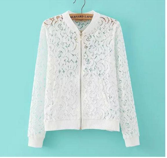 เสื้อคลุม เสื้อ Jacket ผู้หญิง ผ้าลูกไม้ สีขาว เสื้อคลุม แขนยาว สไตล์ คุณนาย สาวนักบริหาร ใส่ออกงาน เสื้อคลุมผู้หญิง แขนยาว แบบสวย 114560_1