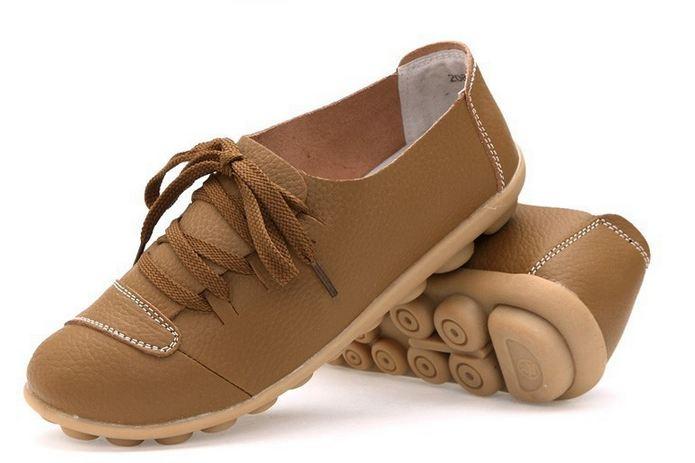 รองเท้าหุ้มส้น รองเท้าหนังแท้ สีเขียว ออก น้ำตาล รองเท้าผู้หญิง หุ้มส้น สไตล์รองเท้าผ้าใบ แบบเท่ ๆ เชือกผูกสีน้ำตาล รองเท้าเท่ ๆ เรียบหรู มีสไตล์ 333685_3