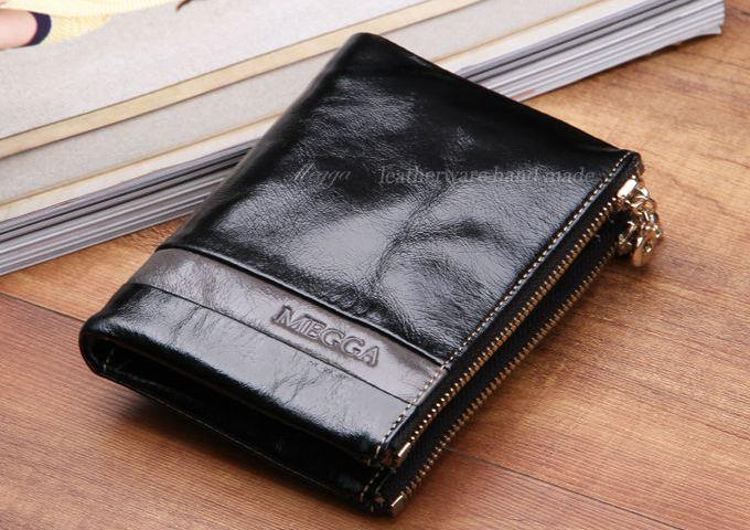 กระเป๋าสตางค์ผู้หญิง ใบสั้น กระเป๋าสตางค์ หนังวัวแท้ ลง Oil wax รุ่นซิปคู่ ใส่บัตร ใส่เงิน ใส่เหรียญ ได้จุใจ กระเป๋าสตางค์หนังแท้ สีดำ นิยม 548786_1