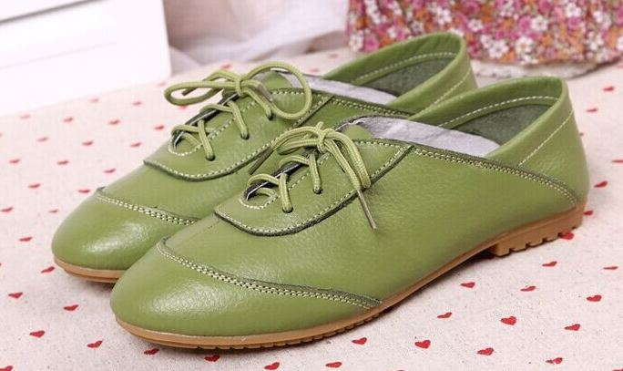รองเท้าหุ้มส้น ผู้หญิง รองเท้าหนังแท้ ใส่ทำงาน ใส่เที่ยว ก็เท่ได้ ดีไซน์ เชือกผูกด้านหน้า พื้นยาง อย่างดี สินค้าลดราคาพิเศษ สีเขียว 302114_1