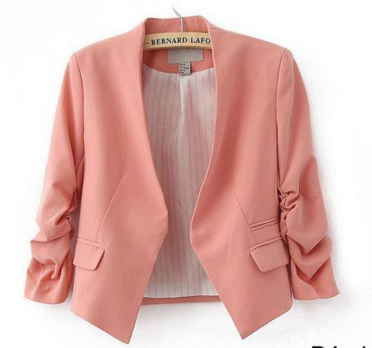 เสื้อสูทผู้หญิง ใส่สมัครงาน ทำงาน ออฟฟิต เสื้อสูท แบบ ตัวสั้น สีชมพูอมส้ม โอรส เสื้อคลุม แบบสูท ใส่ทำงาน แบบสุภาพ ใส่ในออฟฟิต ราคาถูก 171361_2